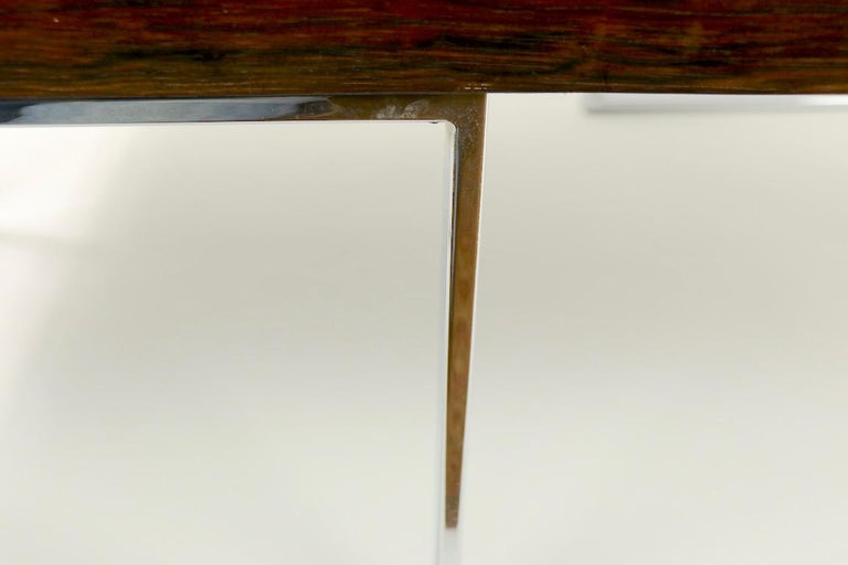 Rosewood and Chrome Coffee Table by Baughman for Thayer Coggin For Sale 6