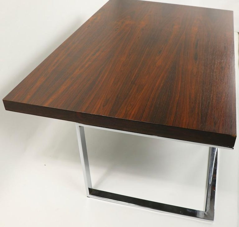 20th Century Rosewood and Chrome Coffee Table by Baughman for Thayer Coggin For Sale