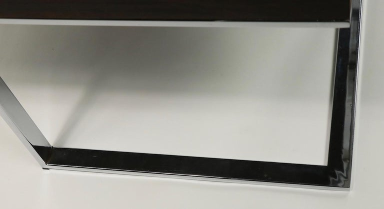 Rosewood and Chrome Coffee Table by Baughman for Thayer Coggin For Sale 1