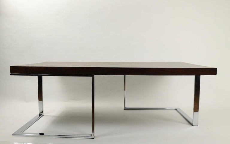 Rosewood and Chrome Coffee Table by Baughman for Thayer Coggin For Sale 2