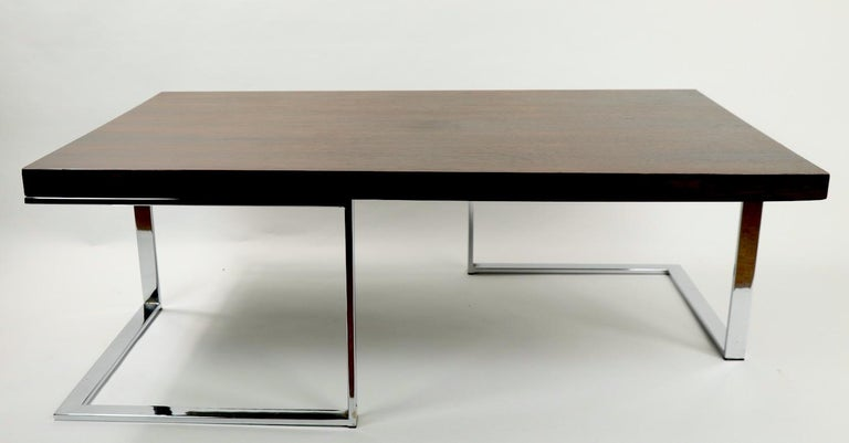 Rosewood and Chrome Coffee Table by Baughman for Thayer Coggin For Sale 3