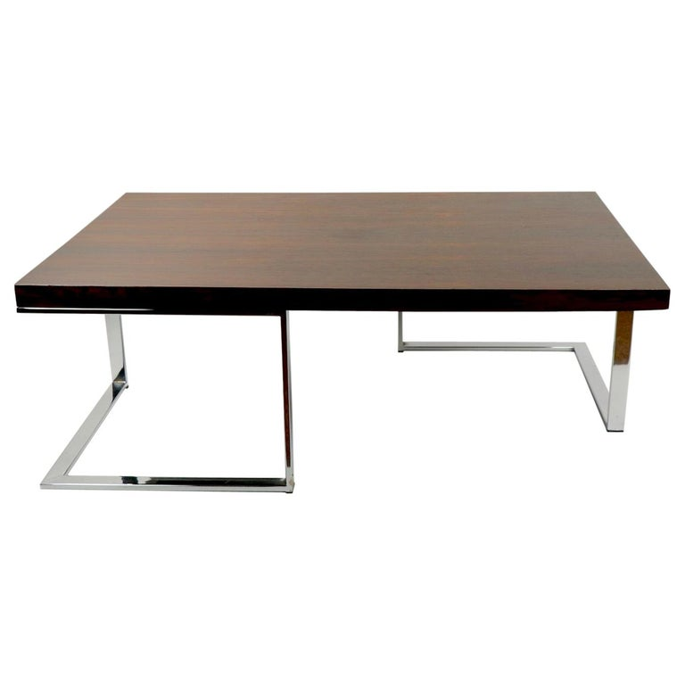 Rosewood and Chrome Coffee Table by Baughman for Thayer Coggin For Sale