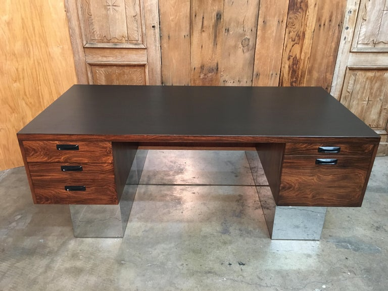 Mid-Century Modern  Rosewood and Chrome Desk in the Style of Milo Baughman For Sale
