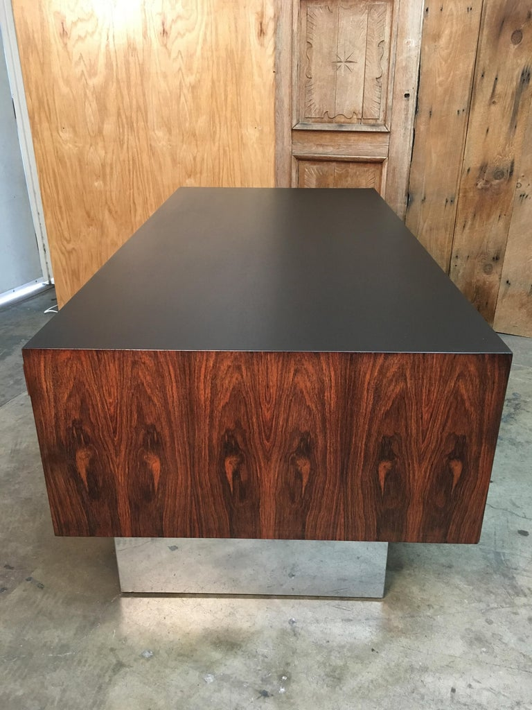 North American  Rosewood and Chrome Desk in the Style of Milo Baughman For Sale