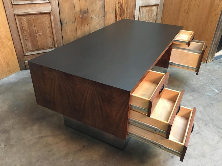 20th Century  Rosewood and Chrome Desk in the Style of Milo Baughman For Sale