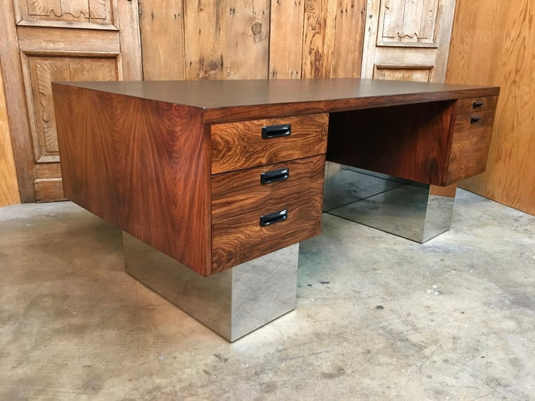 Rosewood and Chrome Desk in the Style of Milo Baughman For Sale 1