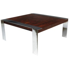 Rosewood and Chrome Midcentury Coffee Table