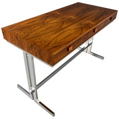 Rosewood and Chrome Petite Midcentury Writing Desk