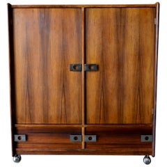 Rosewood and Chrome Rolling Dry Bar or Cabinet by Leif Jacobsen, circa 1970