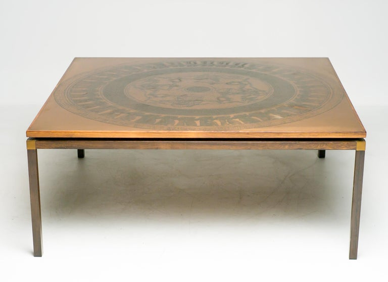 Scandinavian architectural coffee table with embossed copper tabletop with ancient Egyptian Farao period decoration, rosewood and copper frame, Denmark, circa 1970.