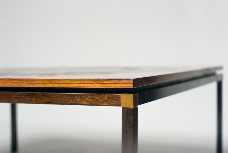 Scandinavian Modern Rosewood and Copper Coffee Table, Denmark, circa 1970 For Sale