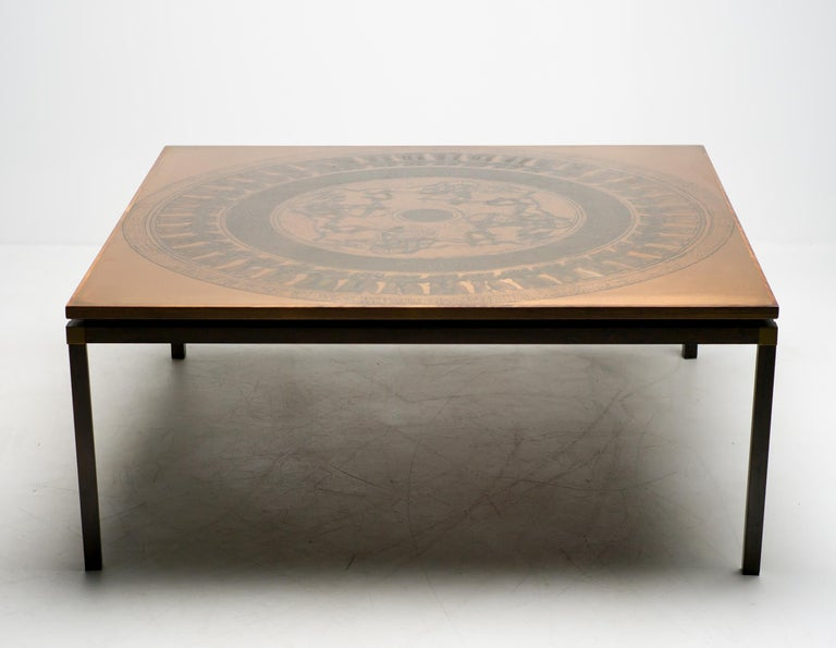 Danish Rosewood and Copper Coffee Table, Denmark, circa 1970 For Sale