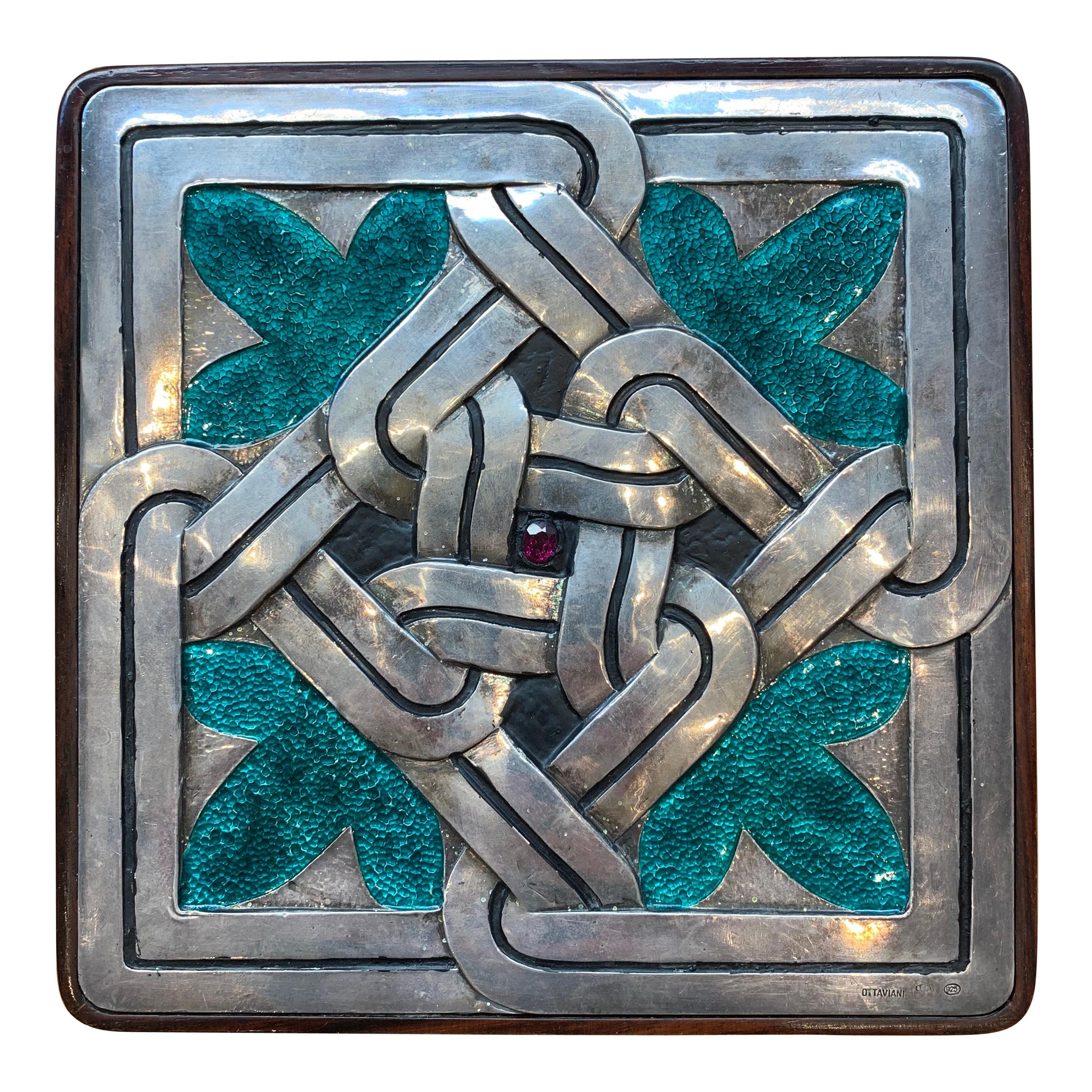 Rosewood and Enameled Sterling Silver Box by Ottaviani, circa 1960s