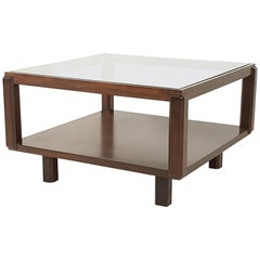 Rosewood and Glass Italian 1960s Squared Coffee Table