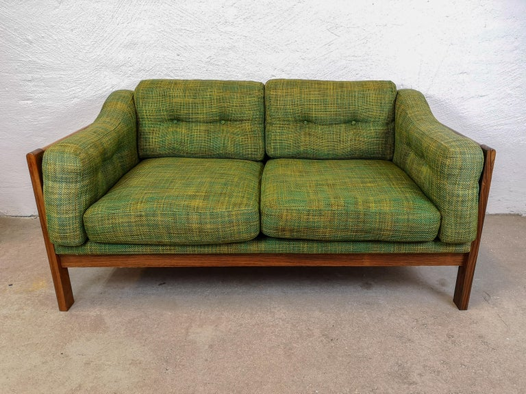 Scandinavian Modern  Midcentury Rosewood and Green Cushions Sofa