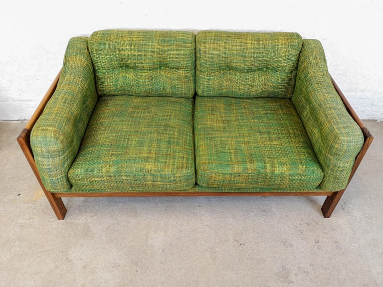 Swedish  Midcentury Rosewood and Green Cushions Sofa