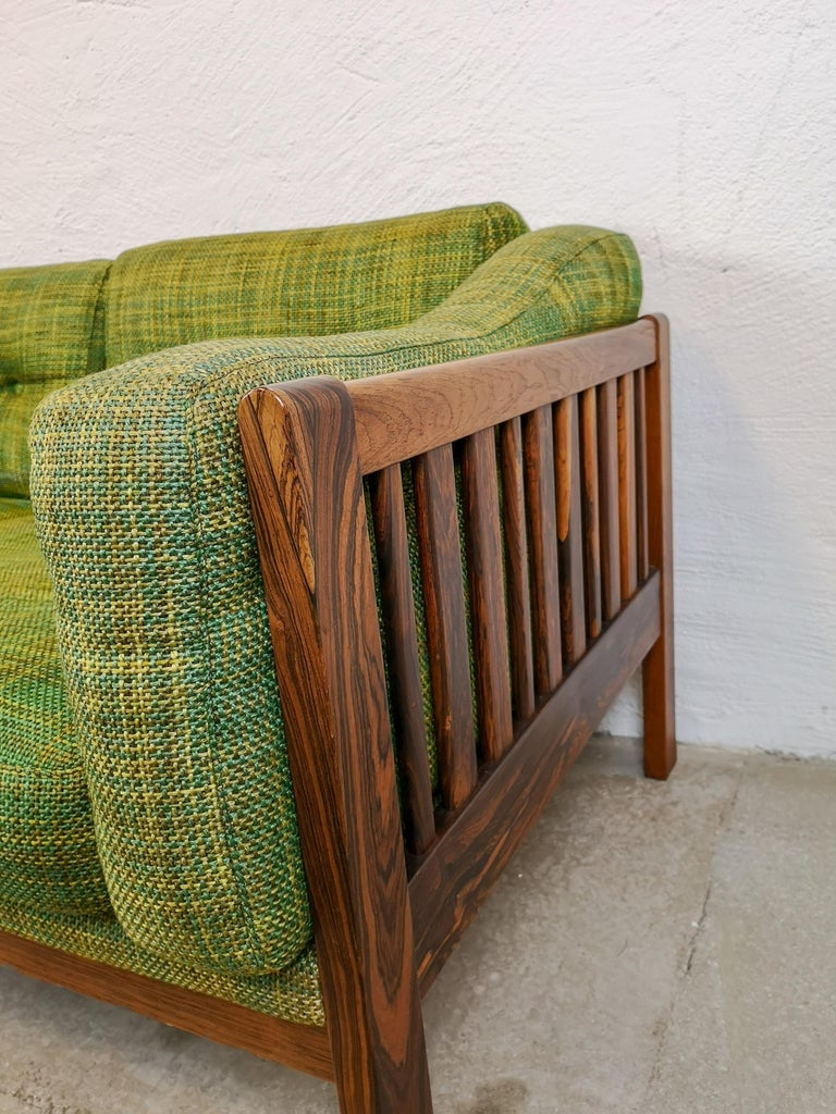 Rosewood and Green Cushions Sofa