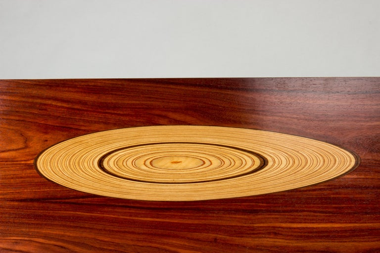 Mid-20th Century Rosewood and Inlaid Wood Coffee Table by Tapio Wirkkala for Asko For Sale