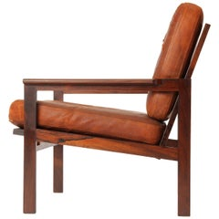 Rosewood and Leather Armchair by Illum Wikkelso for Niels Eilerson