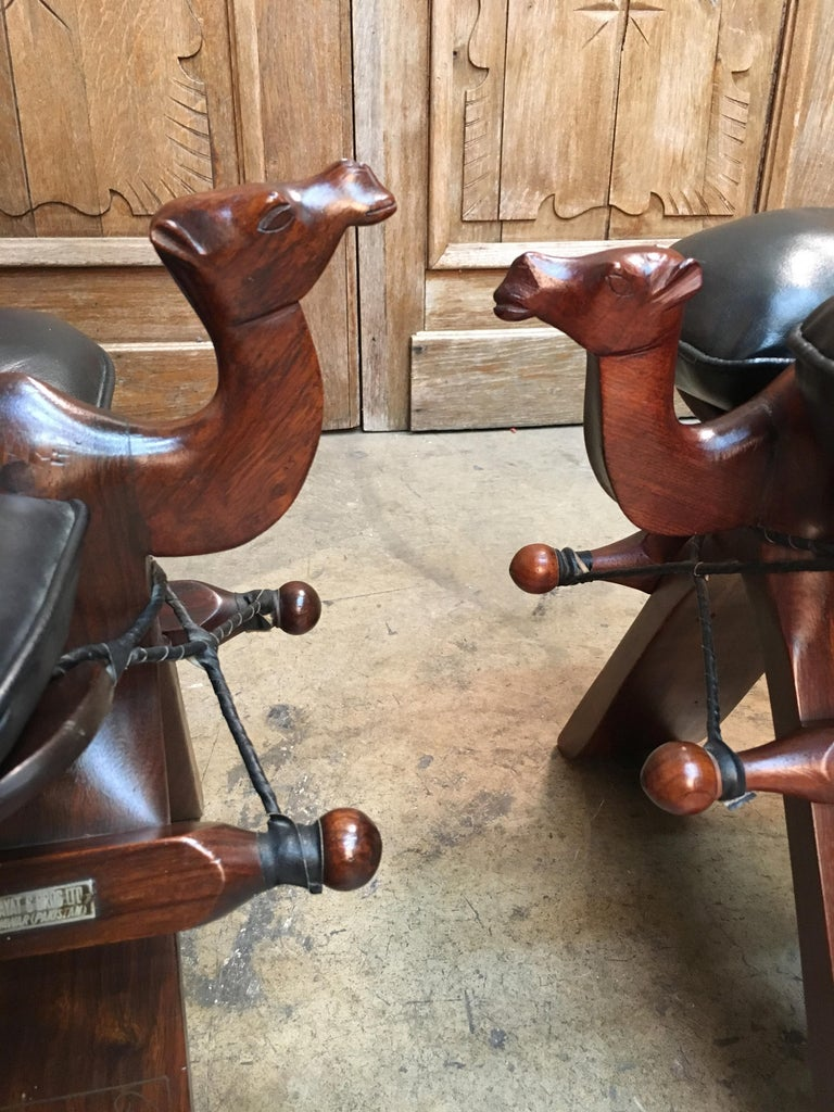 Rosewood And Leather Camel Saddle Stools For Sale At 1stdibs