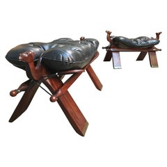 Rosewood and Leather Camel Saddle Stools
