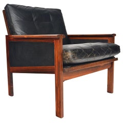Rosewood and Leather Capella Lounge Chair by Illum Wikkelsø