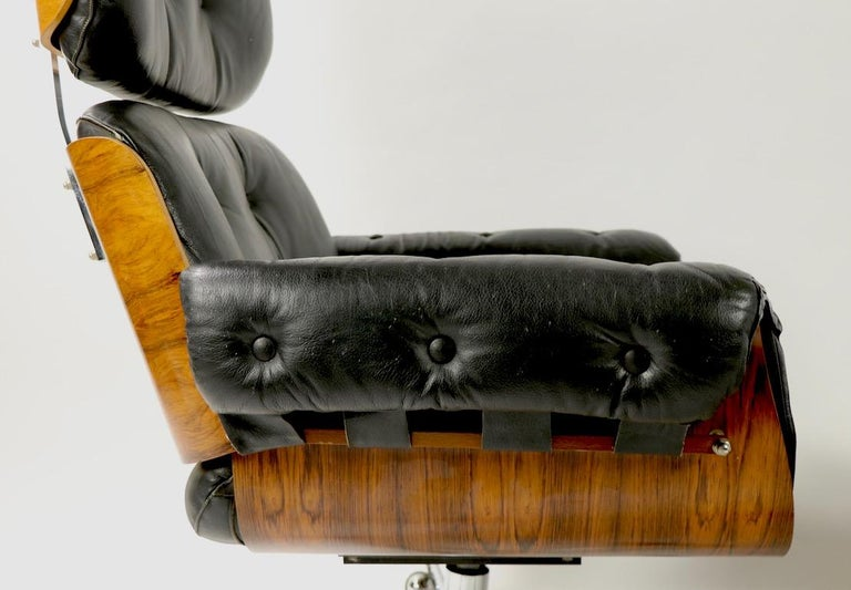 Rosewood and Leather Eames Style Swivel Lounge Chair and Ottoman For Sale 4