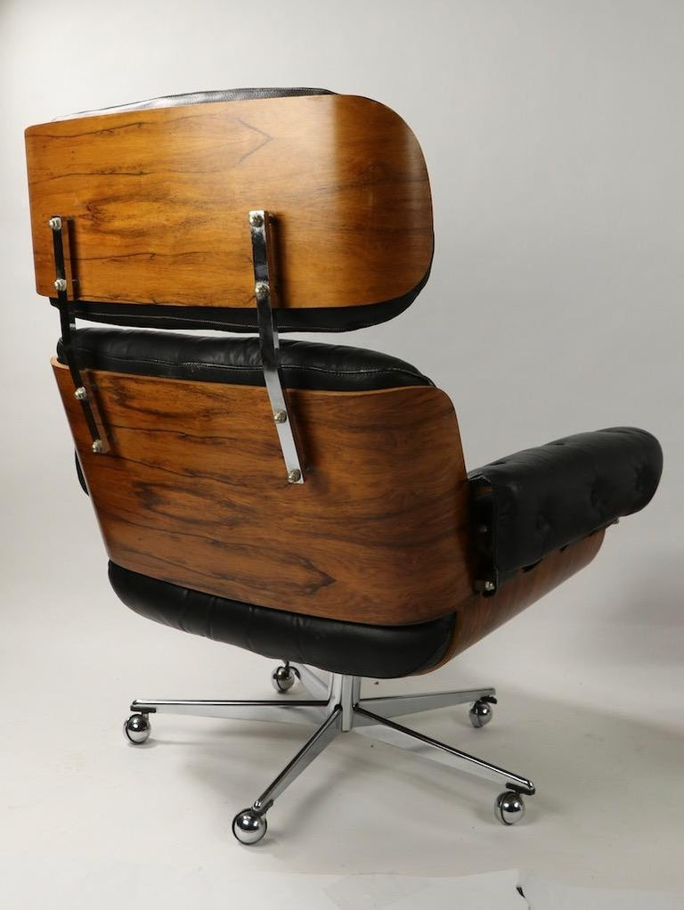 Rosewood and Leather Eames Style Swivel Lounge Chair and Ottoman For Sale 1