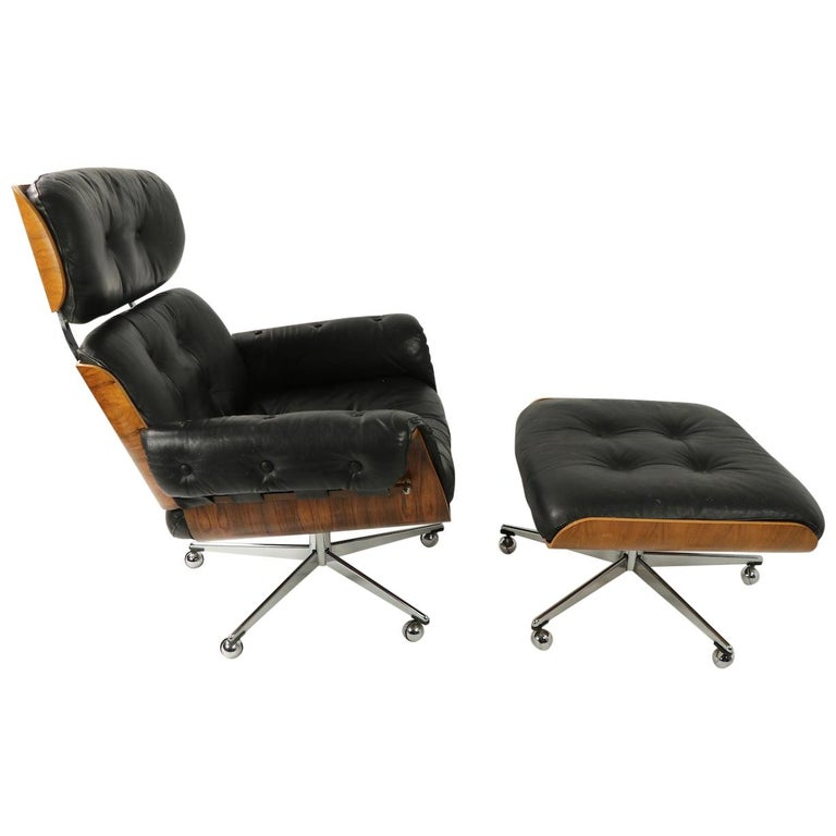 Rosewood and Leather Eames Style Swivel Lounge Chair and Ottoman For Sale