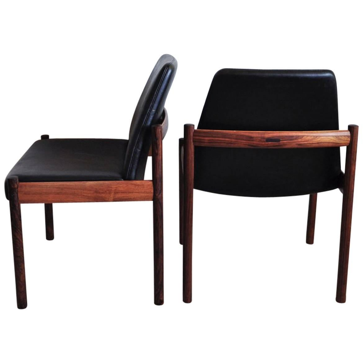 Rosewood and Leather Dining Chair by Sven Ivar Dysthe for Dokka Møbler