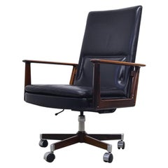 Rosewood and Leather Executive Office Chair by Arne Vodder for Sibast, 1960s