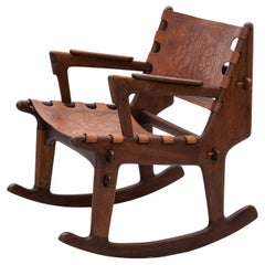 Rosewood and Leather Rocker by Angel Pazmino, Ecuador, 1960s