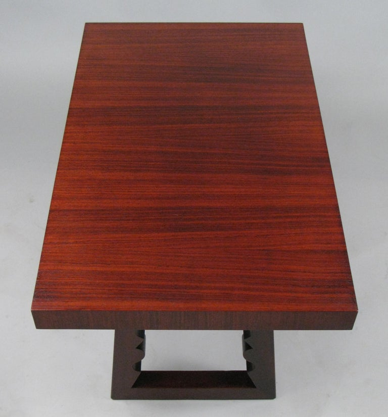 Rosewood and Mahogany Cocktail Table by Andrew Szoeke In Good Condition For Sale In Hudson, NY