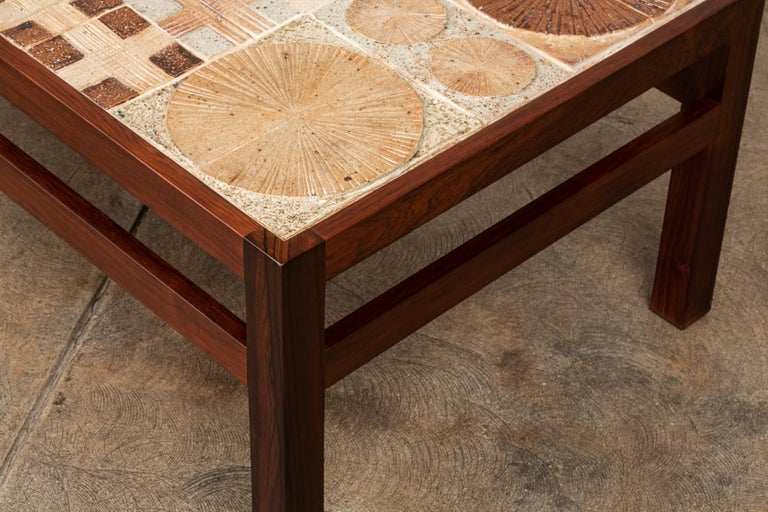 Rosewood and Mosaic Tile Coffee Table by Tue Poulsen For Sale 4