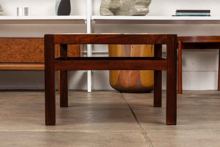 Ceramic Rosewood and Mosaic Tile Coffee Table by Tue Poulsen For Sale