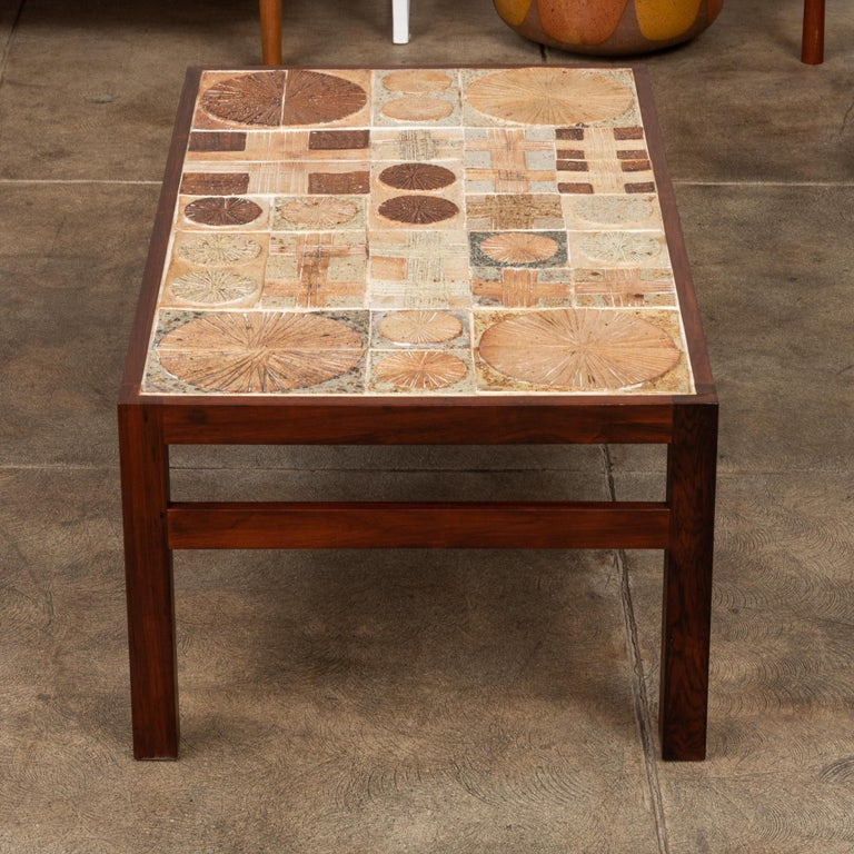Rosewood and Mosaic Tile Coffee Table by Tue Poulsen For Sale 1