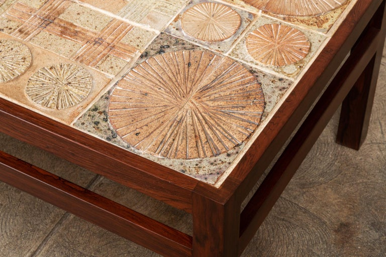 Rosewood and Mosaic Tile Coffee Table by Tue Poulsen For Sale 5