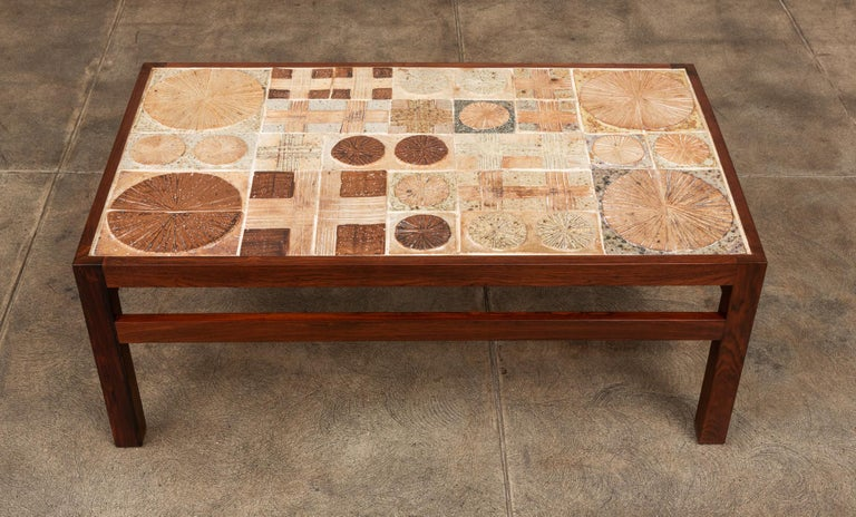 Rosewood and Mosaic Tile Coffee Table by Tue Poulsen For Sale 2
