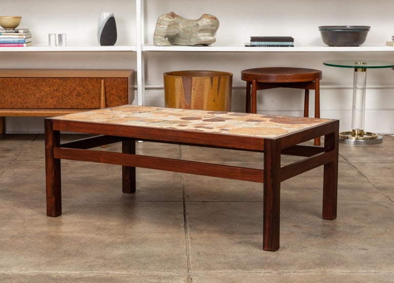 Rosewood and Mosaic Tile Coffee Table by Tue Poulsen In Excellent Condition For Sale In Los Angeles, CA