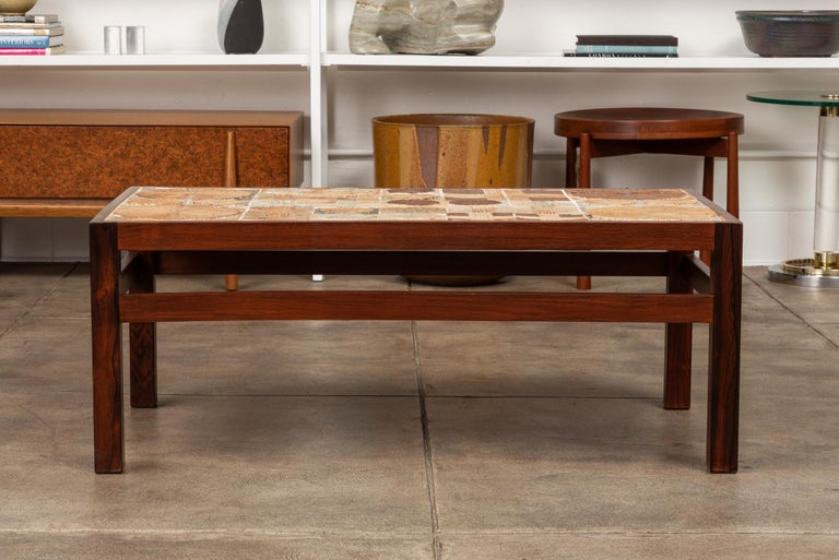 Mid-Century Modern Rosewood and Mosaic Tile Coffee Table by Tue Poulsen For Sale