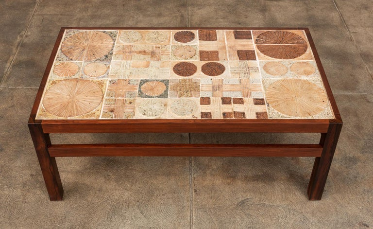 Danish Rosewood and Mosaic Tile Coffee Table by Tue Poulsen For Sale