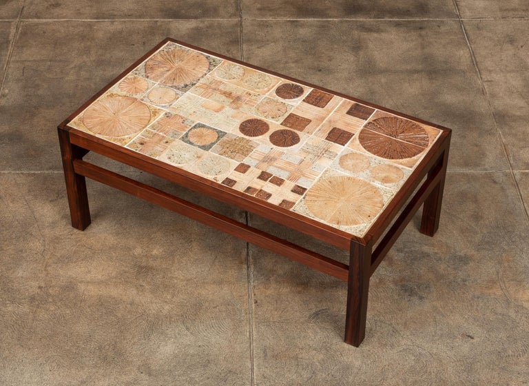 Mid-20th Century Rosewood and Mosaic Tile Coffee Table by Tue Poulsen For Sale
