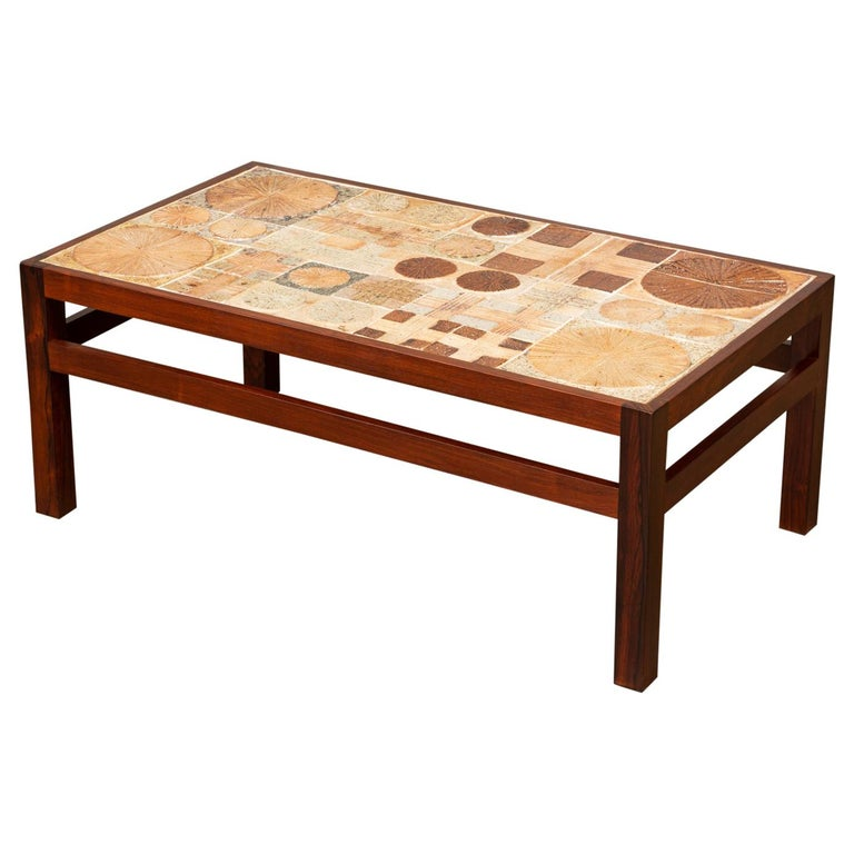 Rosewood and Mosaic Tile Coffee Table by Tue Poulsen For Sale