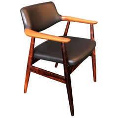 Rosewood and New Leather, Pair of Chairs by Svend Aage Eriksen