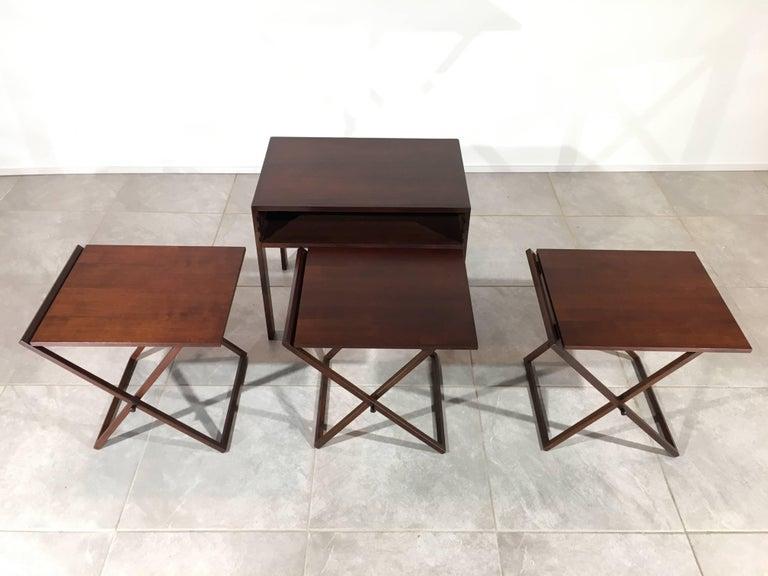 Scandinavian Modern Rosewood and Oak Nesting Tables by Illum Wikkelsø for Silkeborg