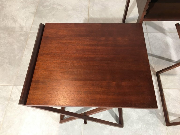 Rosewood and Oak Nesting Tables by Illum Wikkelsø for Silkeborg In Good Condition In Southampton, NJ
