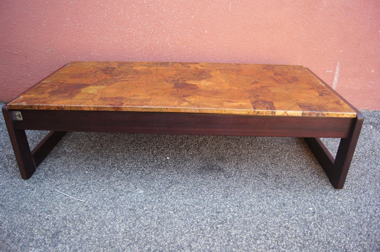 Modern Rosewood and Patchwork Copper Coffee Table by Percival Lafer For Sale