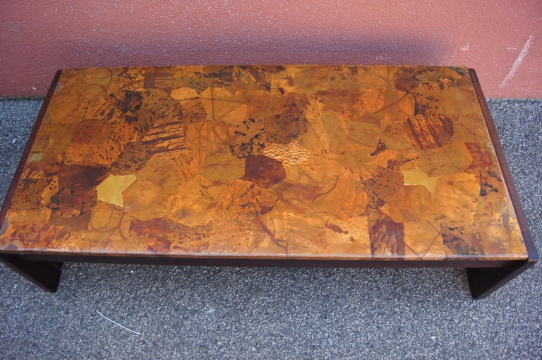 Brazilian Rosewood and Patchwork Copper Coffee Table by Percival Lafer For Sale