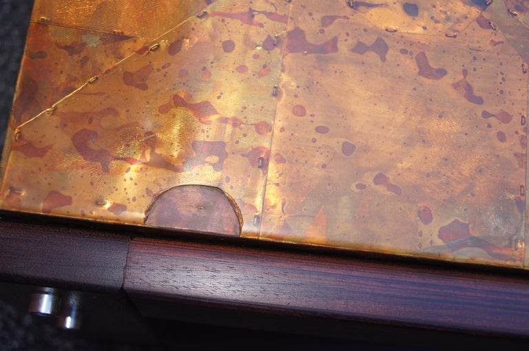 Late 20th Century Rosewood and Patchwork Copper Coffee Table by Percival Lafer For Sale
