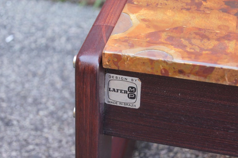 Rosewood and Patchwork Copper Coffee Table by Percival Lafer For Sale 2